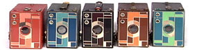 set of different colored Beau Brownie Cameras, including the rare rose