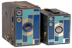 two blue colored Beau Brownie Cameras